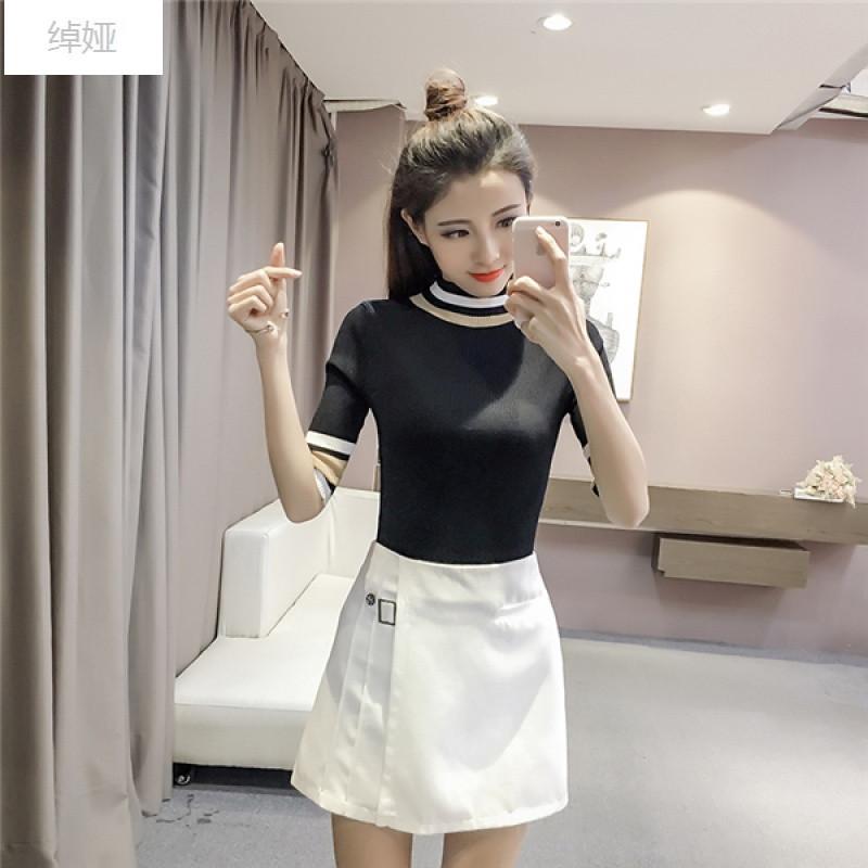 绰娅韩版半高领短袖薄上衣打底衫针织衫女中袖套头五分袖紧身t恤半白