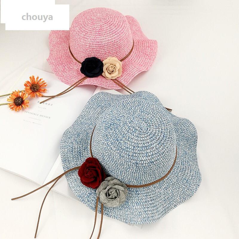 绰娅uyuk春夏季儿童帽子韩版女童波浪边花环丝带编织草帽遮阳帽沙滩帽