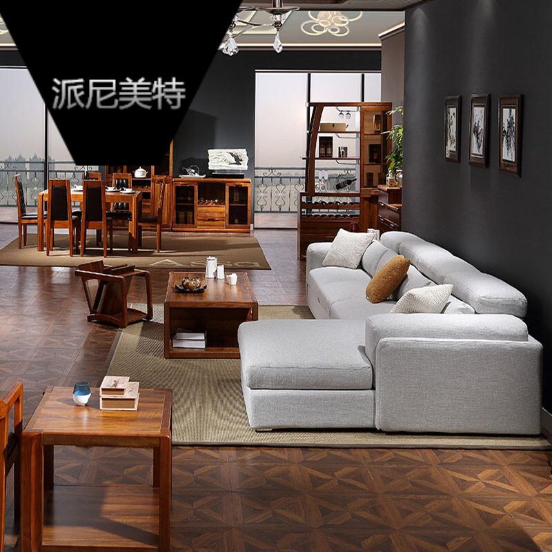 布艺沙发羽绒亚麻客厅组合大户型北欧住宅家具深灰色.