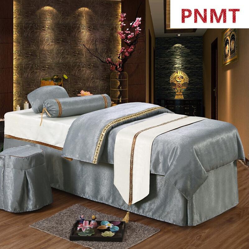 pnmt美容床罩四件套欧式定制美体按摩院床罩纹绣专用床套igsah浅紫色