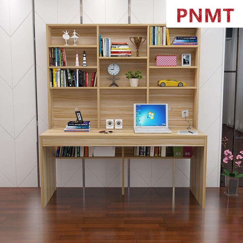 pnmt双人书桌书架组合家用带书柜儿童学生简约现代学习桌储物白电脑桌图片