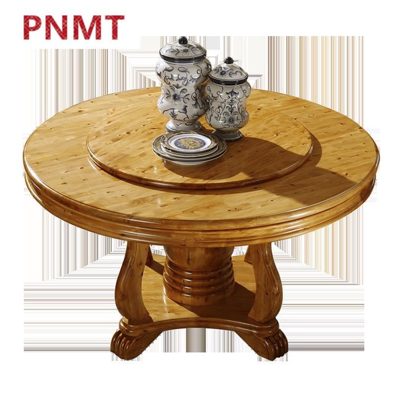 pnmt实木餐桌椅柏木餐台圆形酒店餐馆大圆餐桌带转盘中式现代实木家具