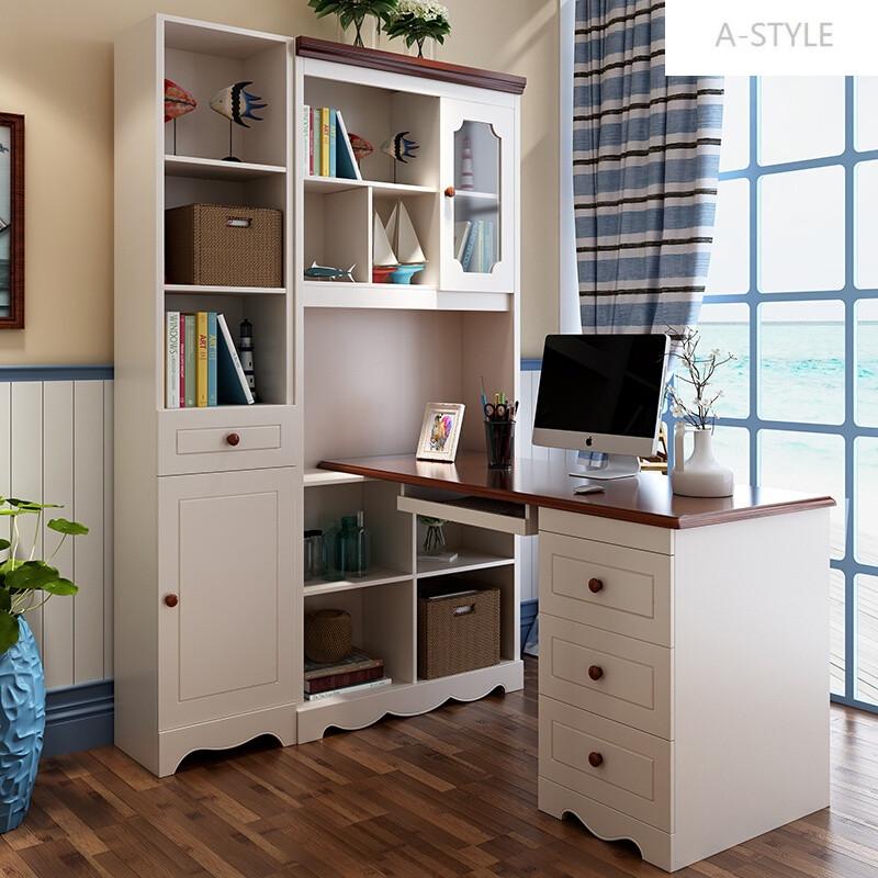 地中海转角电脑书桌书架组合实木学生家用儿童拐角书柜写字台一体