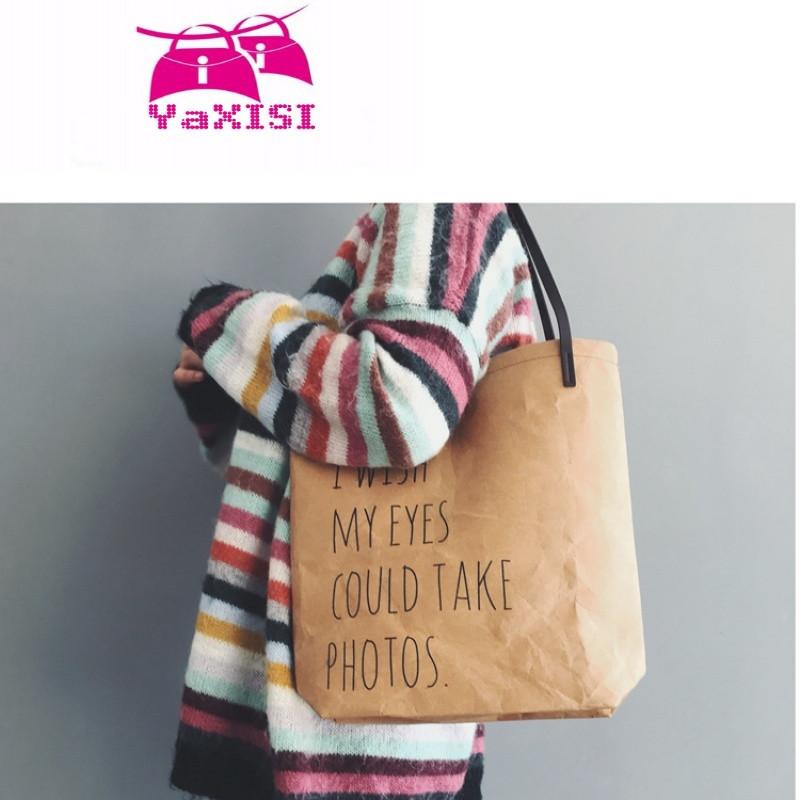 yasixi2017韩版新款复古ulzzang褶皱撕不破牛皮纸袋英文单肩手提女包