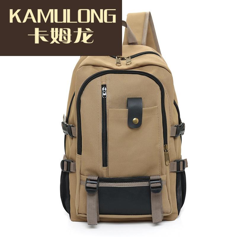 kamulong韩版复古帆布大容量男士双肩包旅行背包时尚潮男中大学生书包