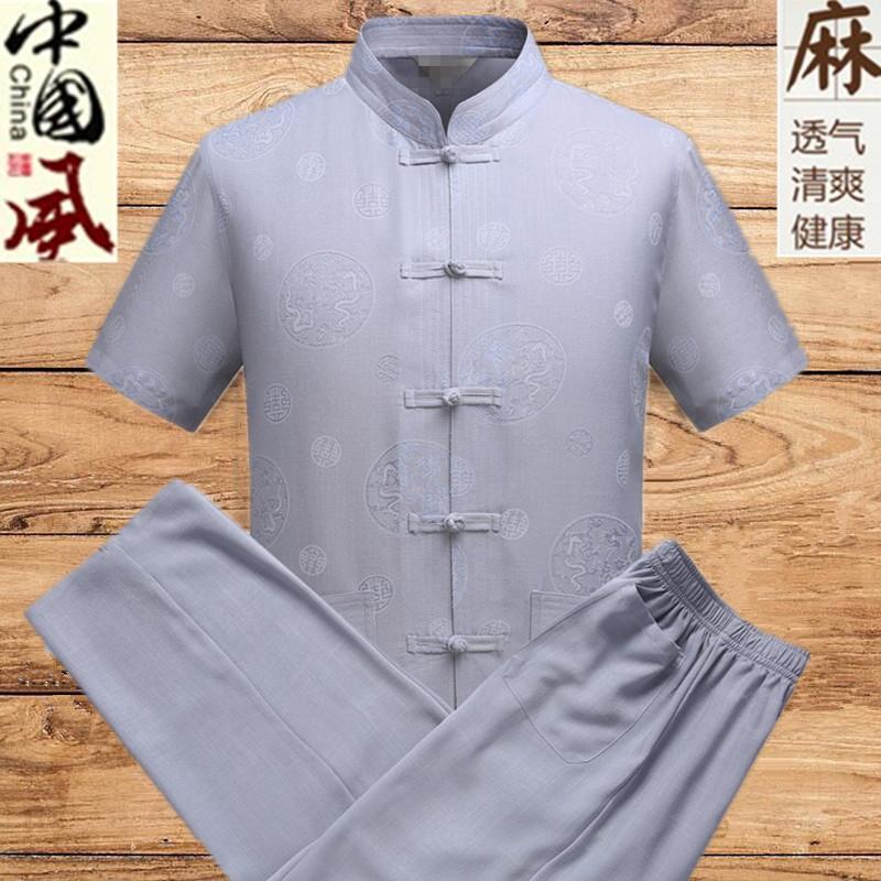 夏季男士唐裝短袖棉麻休閑套裝中老年爸爸裝亞麻襯衣爺爺裝漢服圖片