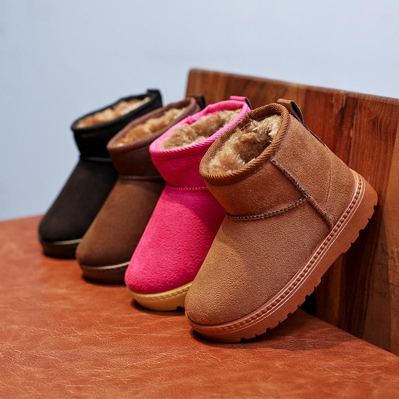 儿童雪地靴男童防滑保暖宝宝短靴子女童2017冬季新款棉鞋加绒童鞋