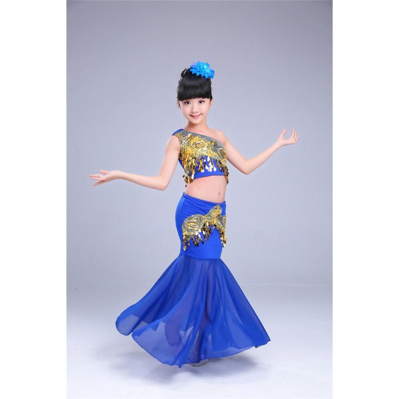 儿童傣族舞蹈服孔雀舞演出服装女童少儿傣族鱼尾裙傣族舞裙表演服