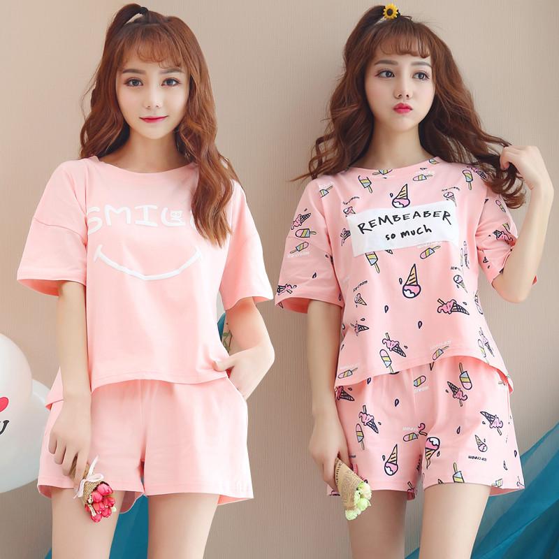 睡衣女夏季短袖纯棉家居服两件套装韩版少女学生可爱睡衣宽松薄款
