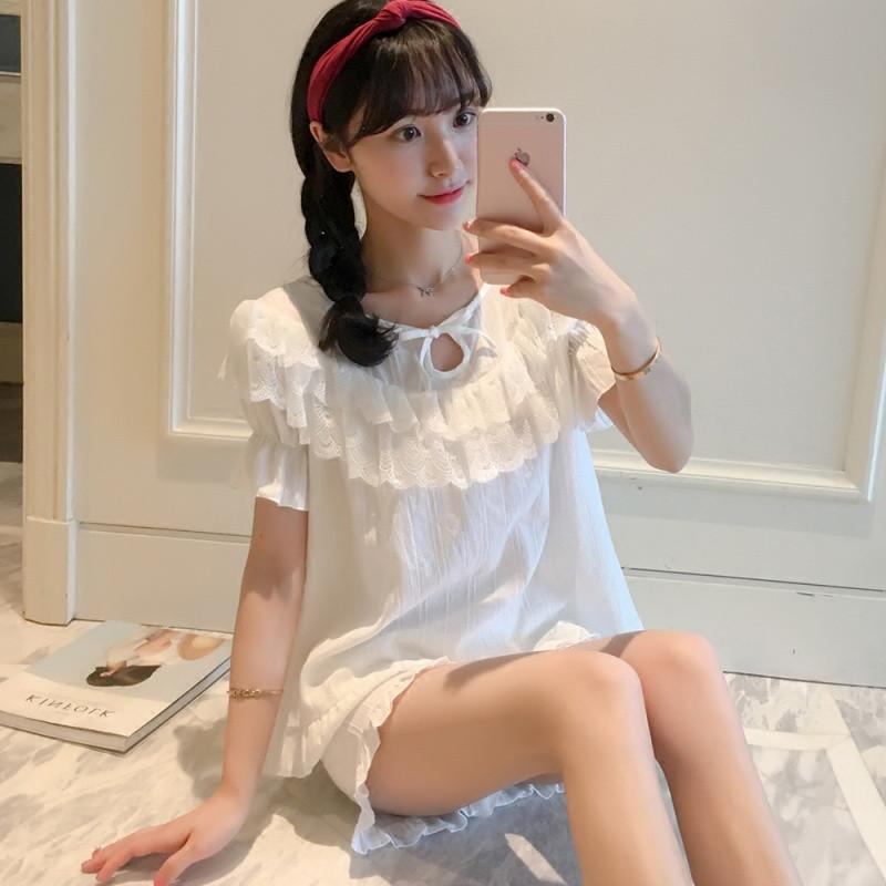 睡衣女夏季纯棉短袖短裤甜美可爱公主韩版两件套装家居服蕾丝夏天