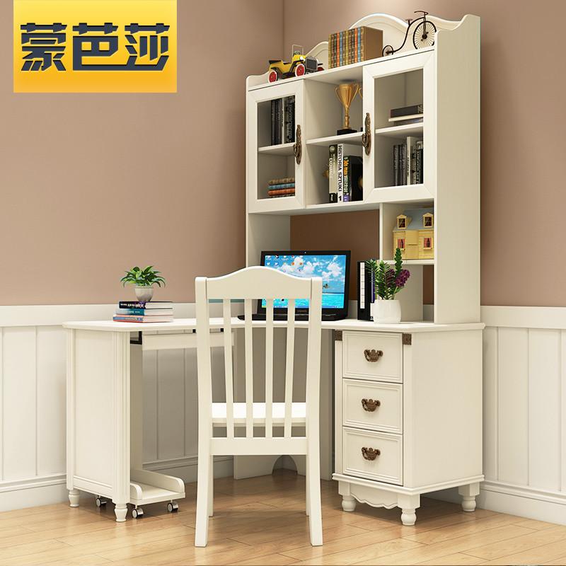 兒童書桌 寫字臺 寫字桌 轉角書桌 實木書桌 簡約現代帶書架書柜書臺