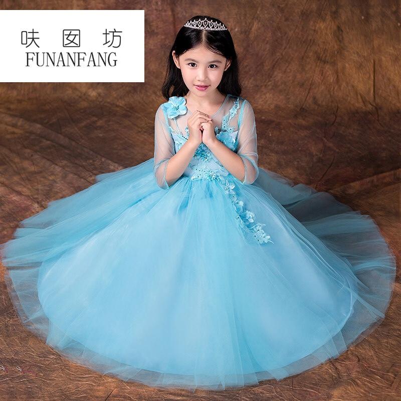 呋囡坊儿童礼服长裙走秀晚礼服公主裙女童钢琴演出服花童婚纱蓬蓬裙