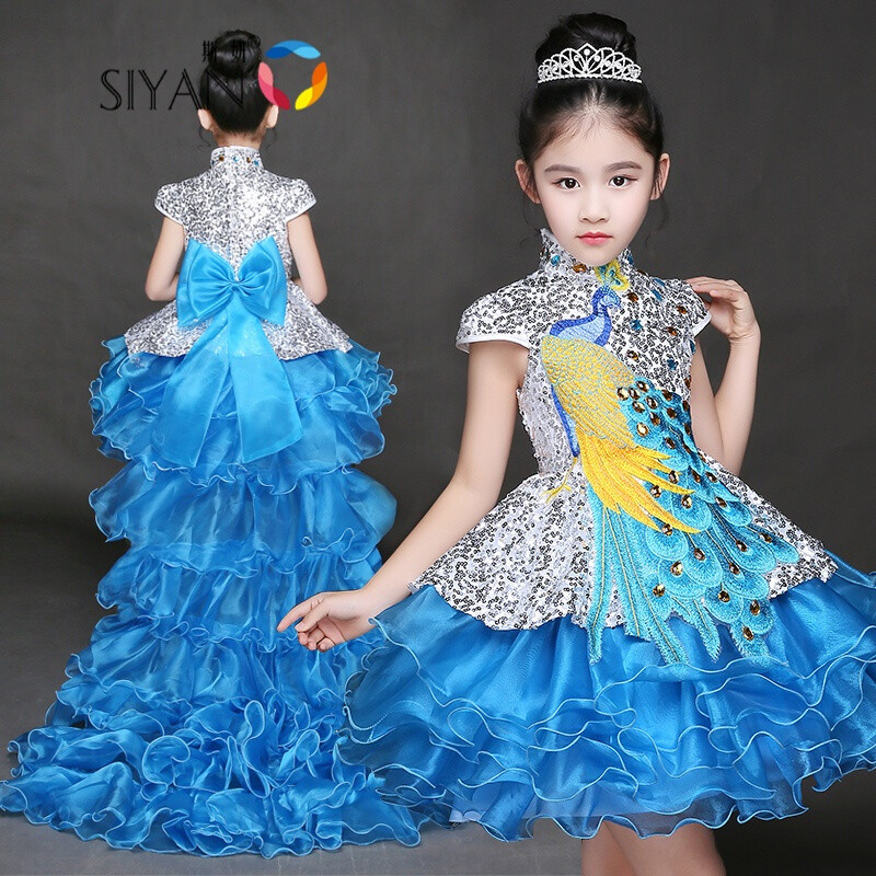 斯妍新款儿童晚礼服模特走秀表演服女孩演出服女童公主裙主持人蓬蓬裙