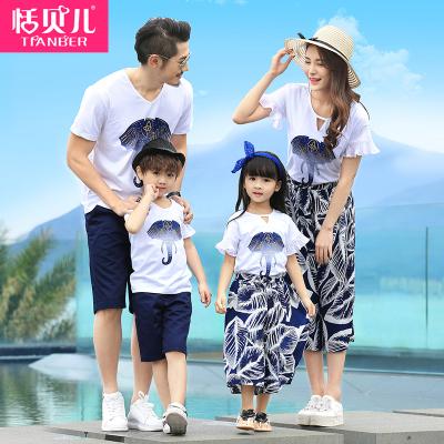 902新款亲子装夏装一家三口装母女装T恤套装韩版全家装海边沙滩家庭装潮定制