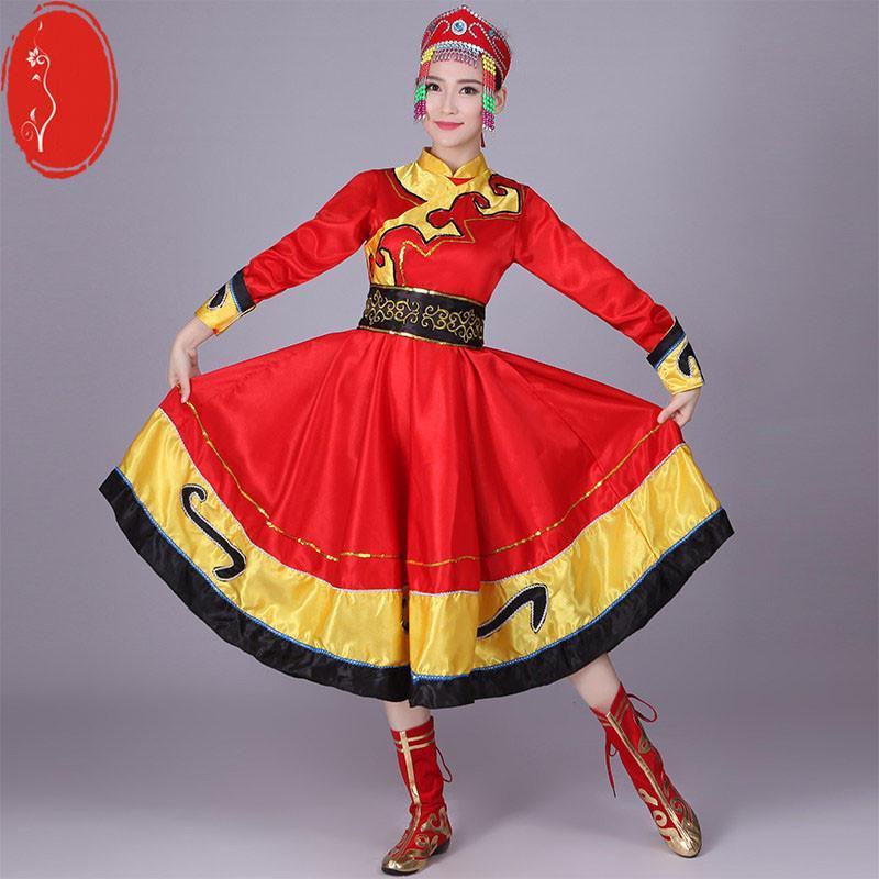 新款蒙古族演出服少数民族藏族舞蹈表演服装女装开场长裙袍广场舞