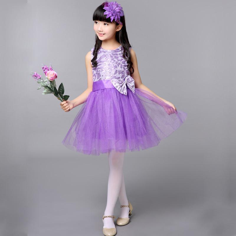 六一儿童演出服舞蹈表演服亮片蓬蓬纱裙连衣裙女童公主裙古筝