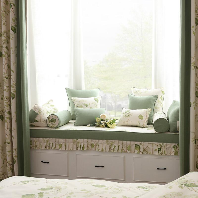 doxa飘窗垫窗台垫定做榻榻米垫子阳台卧室垫子田园加厚海绵沙发垫定制