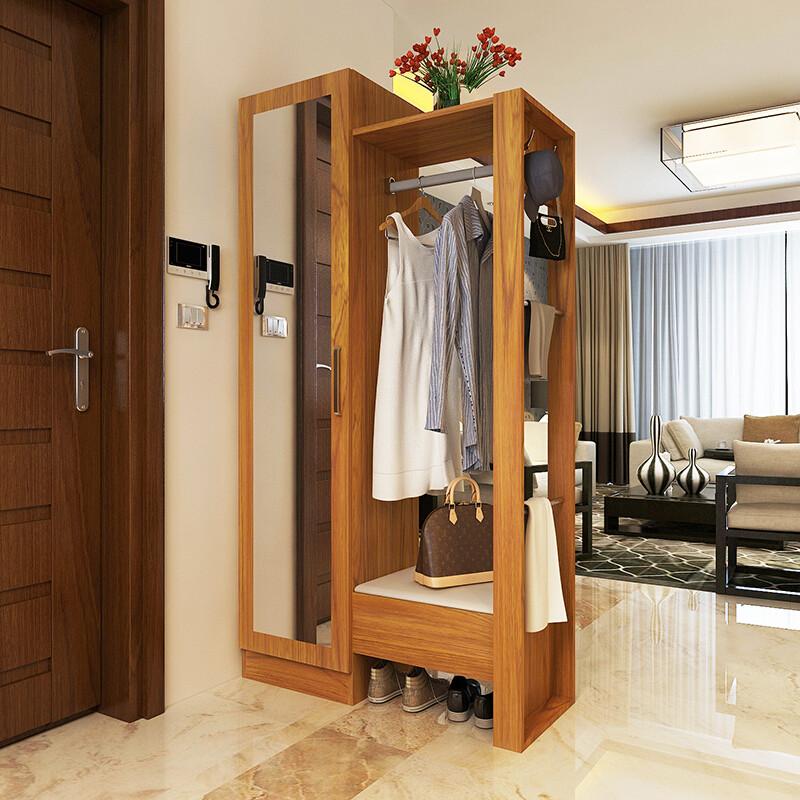 柜简约现代实木色隔断玄关组合柜带穿衣镜的挂衣架rr白烤漆推拉门1.