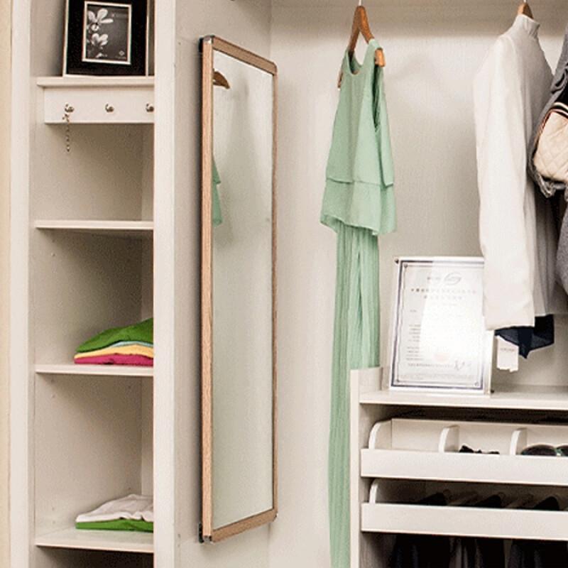 doxa加厚衣柜镜子推拉镜旋转镜伸缩隐藏式轨道试衣镜折叠穿衣镜全身镜