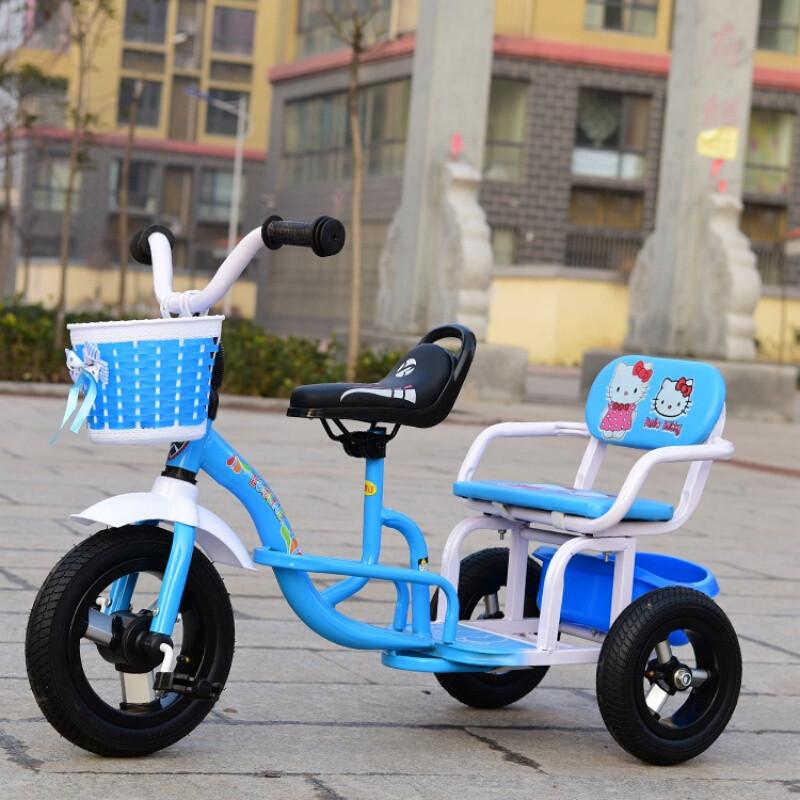 户外儿童三轮车自行车双人脚踏车宝宝手推车婴幼儿童车玩具车
