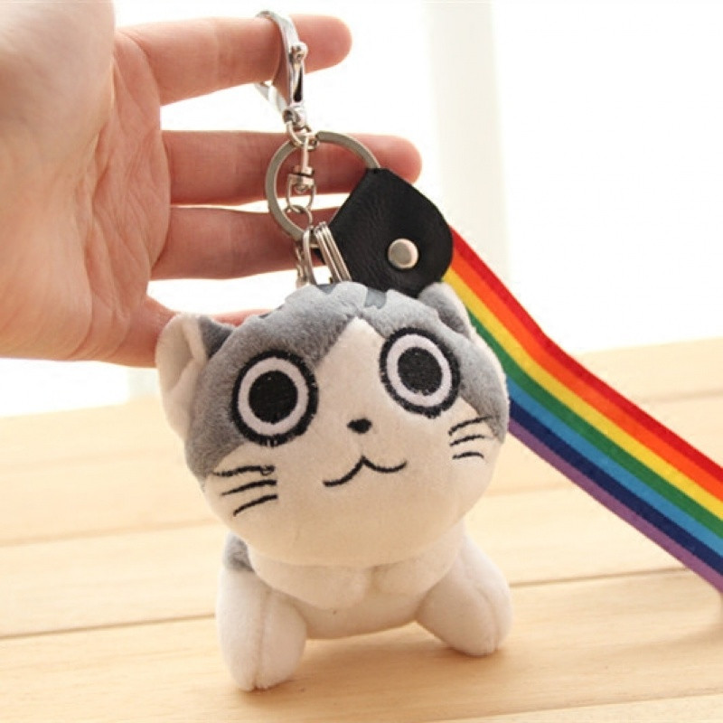 qma新款可爱小猫咪起司猫毛绒钥匙小挂件情侣汽车钥匙