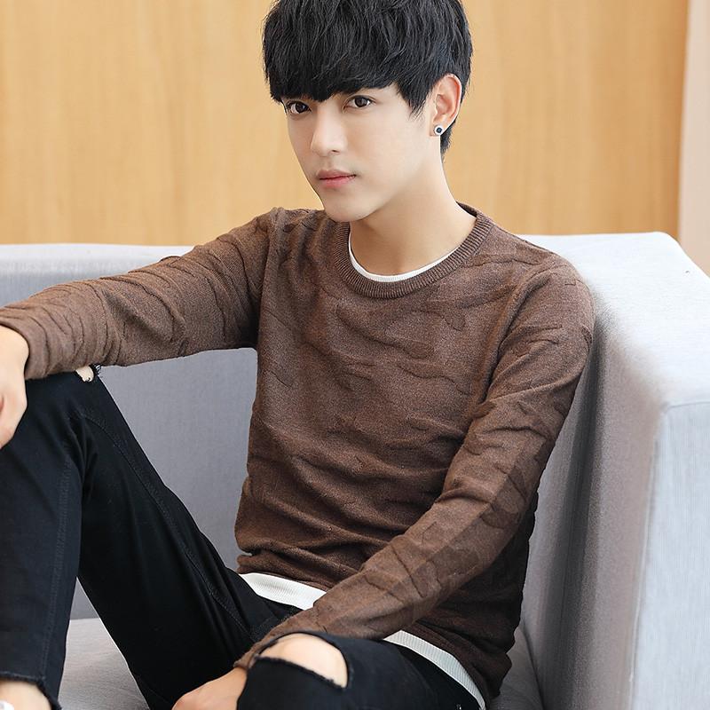 青少年潮男男装_qma新款冬装潮男长袖t恤青少年韩版男装毛衣上衣服外穿针织衫加厚打底