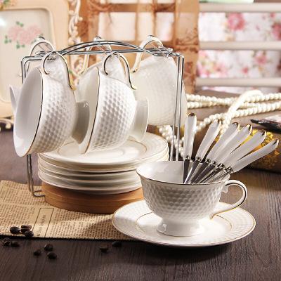 古达 创意陶瓷咖啡杯套装 英式下午红茶杯碟 潮州高尔夫球形咖啡杯 高尔夫球形咖啡杯套装