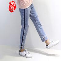 牛仔裤和芮图2017新款学生卫衣加绒加厚女外大庆市的初中图片