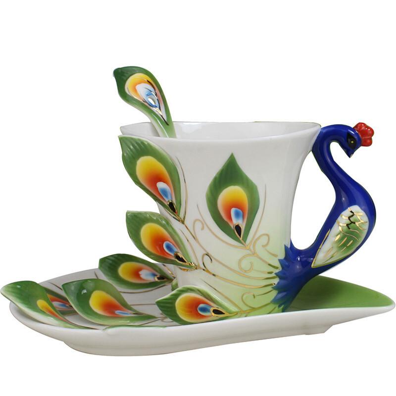 3d手绘陶瓷创意孔雀骨瓷咖啡杯碟勺情人节对杯子欧式茶杯套装水杯c