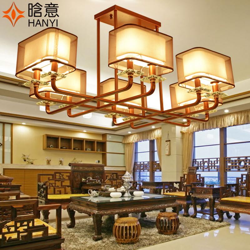 特色新中式吊灯客厅茶室卧室书房灯饰长方形仿古铁艺餐厅led灯具
