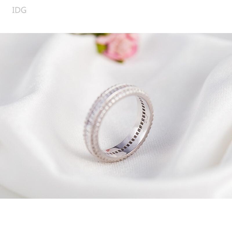 idgs925银满钻梯形钻石戒指镶钻锆石指环首饰银饰