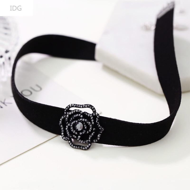idg时尚项圈短款锁骨链女简约脖子百搭装饰玫瑰花朵项链