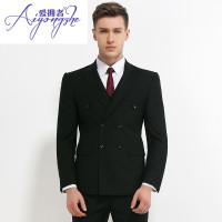 爱拥者新郎西服套装男士结婚礼服双排扣西装男修身韩版职业正装伴郎服