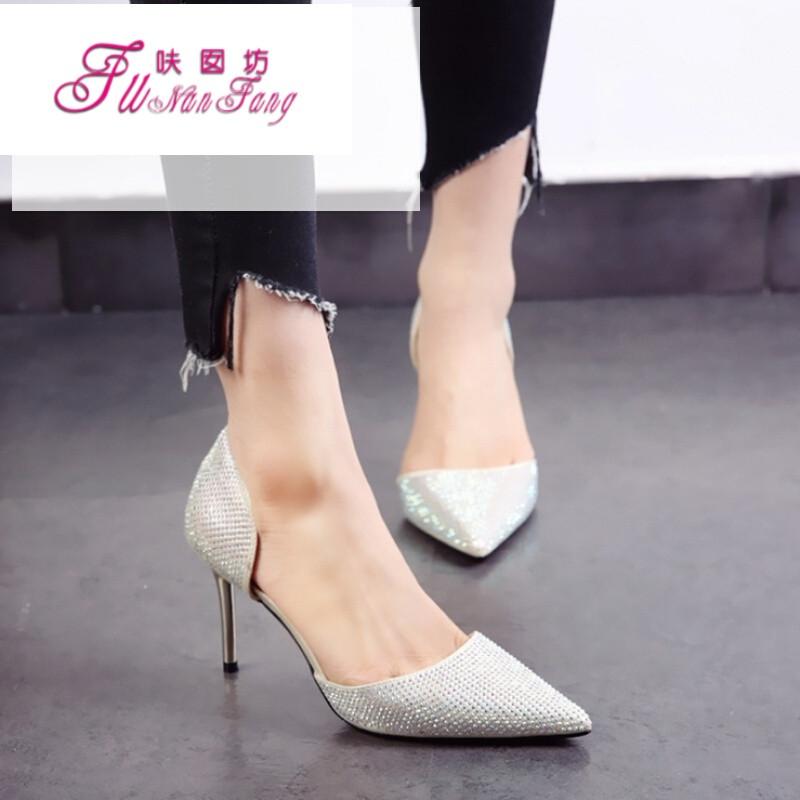 银色婚鞋2017春夏新款欧美尖头鞋水钻细跟中高跟鞋中空单鞋女