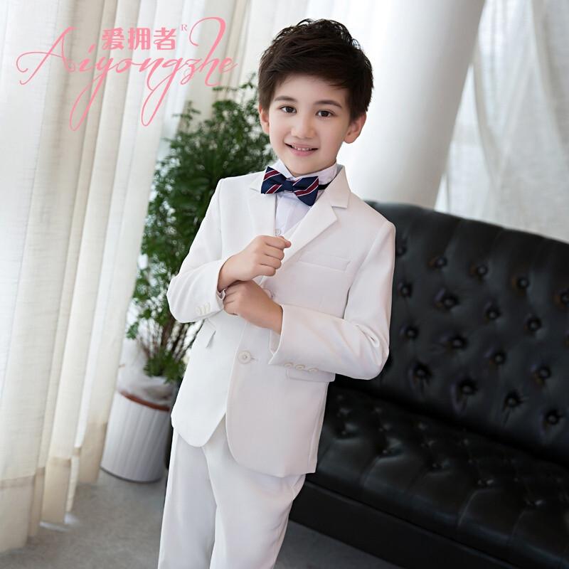 爱拥者儿童西服套装男大童走秀钢琴演出服白色生日礼服花童装主持人图片