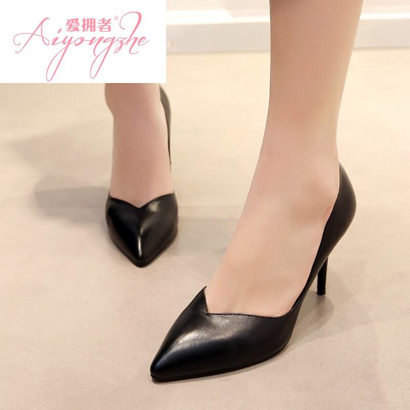 爱拥者尖头细跟高跟鞋2017新款韩版黑色春季单鞋女鞋浅口低帮工作鞋