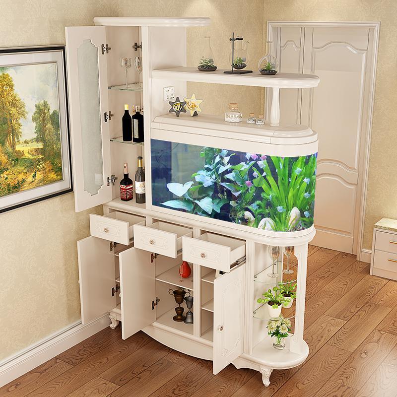歐式玄關柜帶魚缸隔斷柜間門廳柜客廳酒柜現代簡約進門鞋柜屏風柜