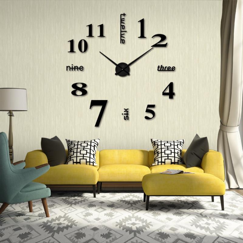 镜面创意挂钟 客厅diy静音时钟欧式钟表壁钟时尚墙贴钟zb1117