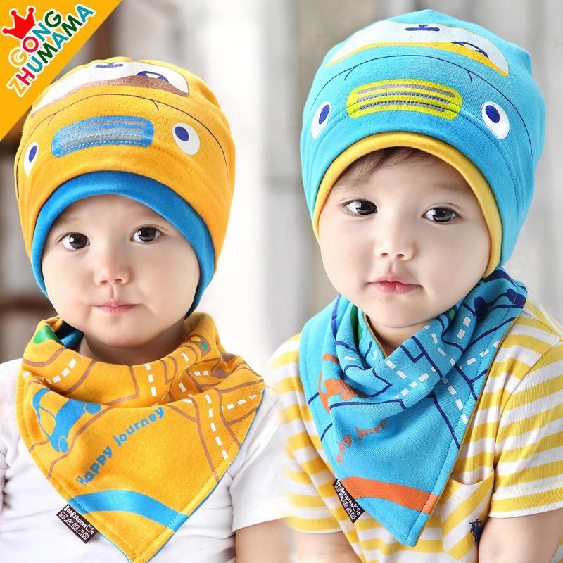 春秋天宝宝帽子韩版婴儿帽子三角巾1-2-3岁男童纯棉帽