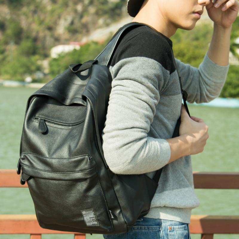 新款韩版潮流男士pu皮双肩包男包包高中学生书包电脑旅行女式背包