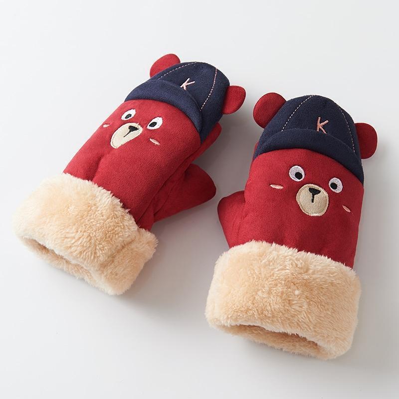 卡通萌女生手套冬天 韩版潮连指 手套女冬季加厚保暖可爱