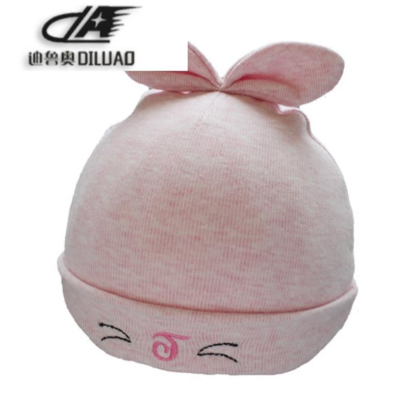 新生儿0-3个月帽子胎帽加厚加绒耳朵婴儿帽秋冬宝宝套