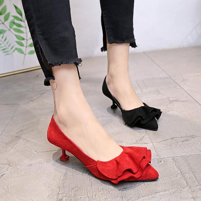 新款韩版新品糖果色尖头裙摆细跟高跟鞋猫跟鞋浅口单鞋船鞋小跟鞋女鞋