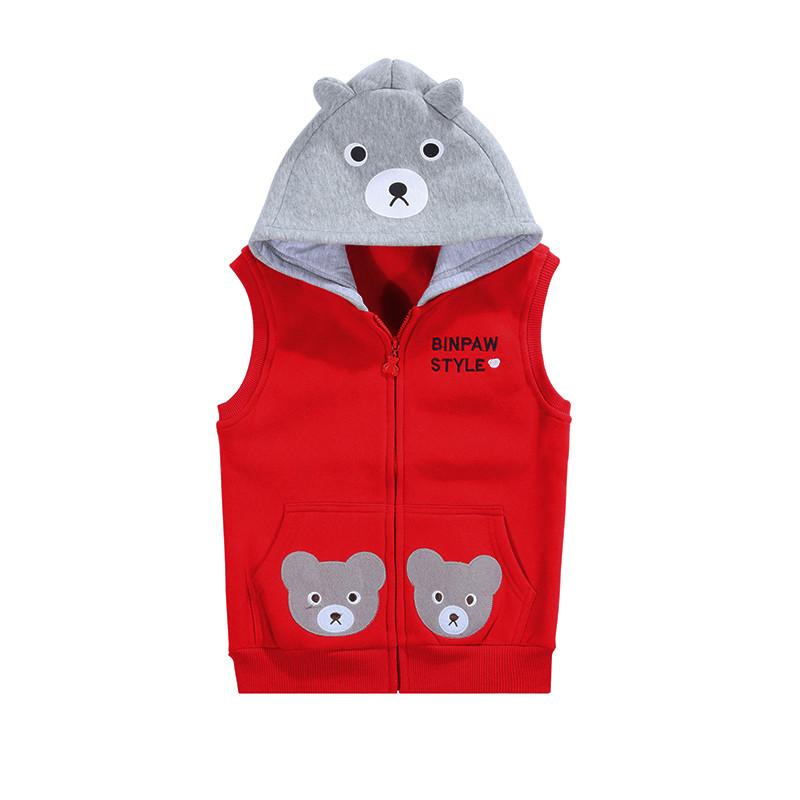 新款儿童马甲2017秋装新款小熊可爱童装男童坎肩女童背心宝宝保暖上衣