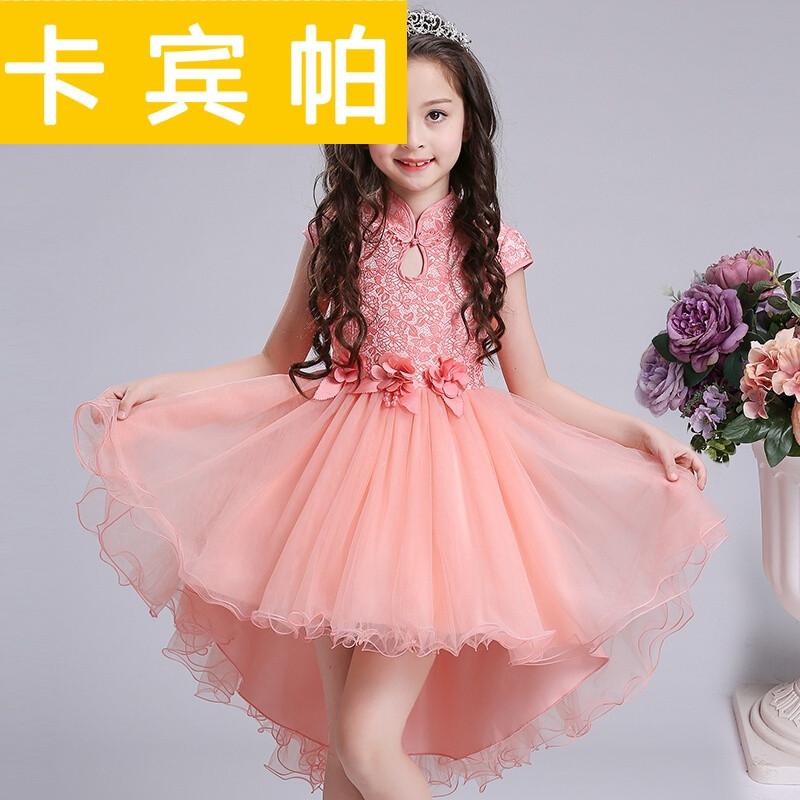 夏季女童连衣裙儿童公主裙2017新款童装女旗袍拖尾裙女孩夏装裙子粉红