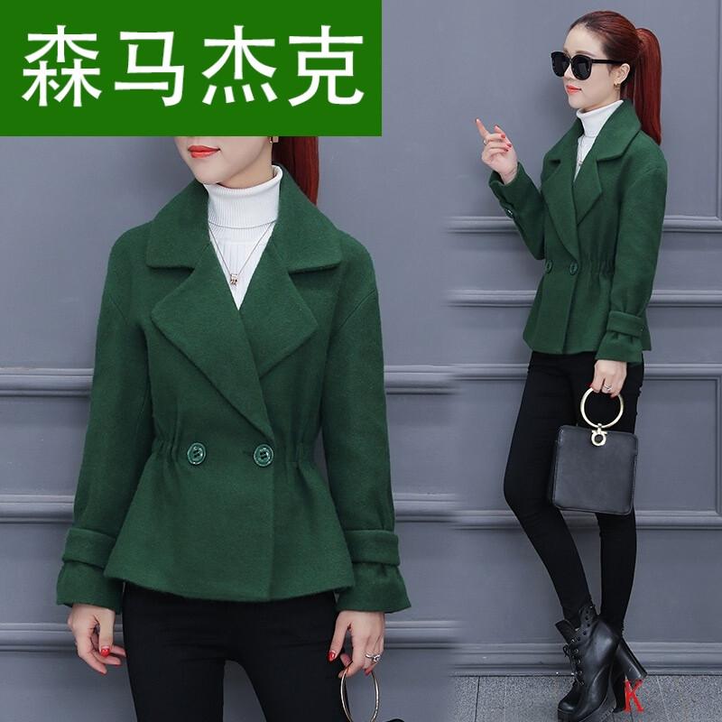 森马杰克毛呢外套女短款韩版2017新款女装小香风秋冬款修身图片
