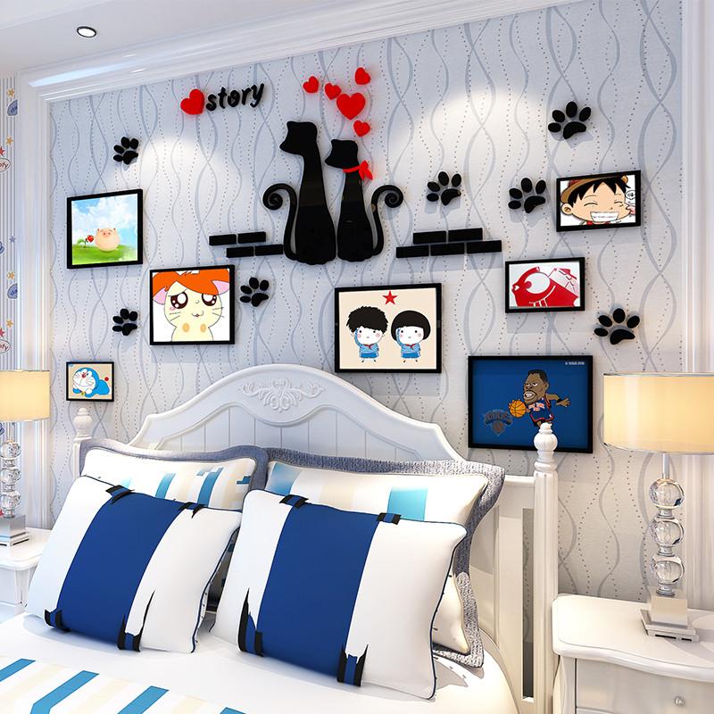 舒厅创意家居 3d亚克力立体墙贴沙发卧室儿童房背景墙照片组合装饰