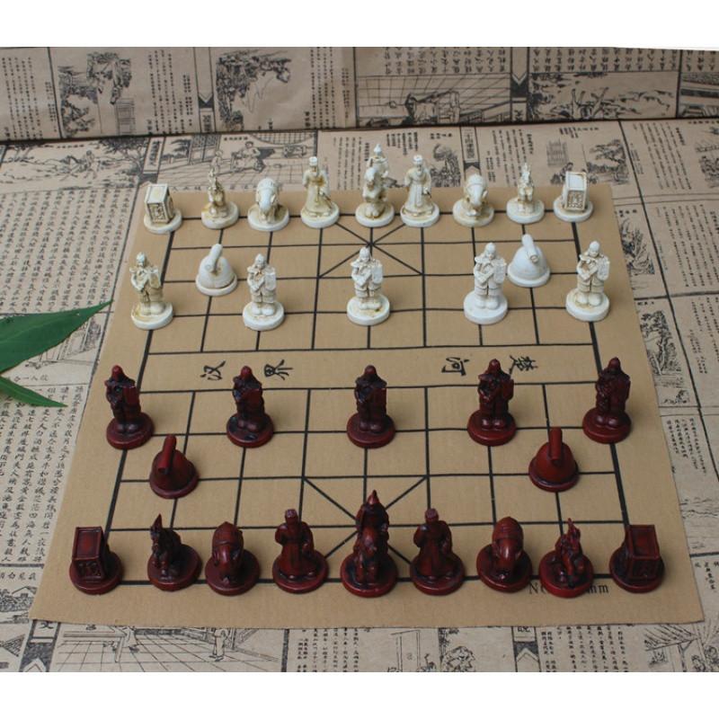复古立体中国象棋皮革棋盘兵马俑中国象棋人物棋子/亲子礼品