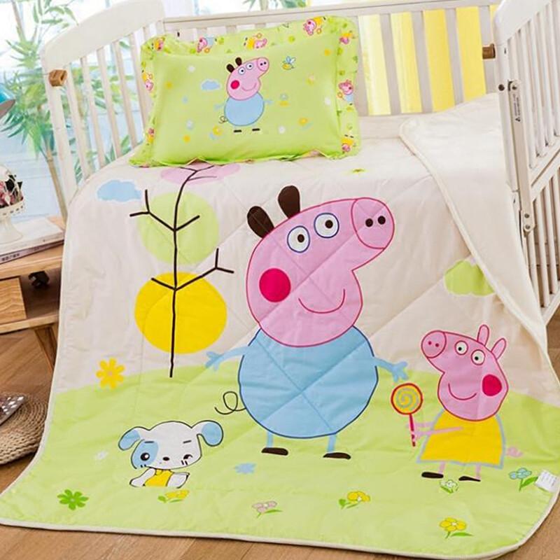 儿童全棉夏凉被纯棉空调被单人幼儿园卡通午睡被薄被子小猪佩奇(送
