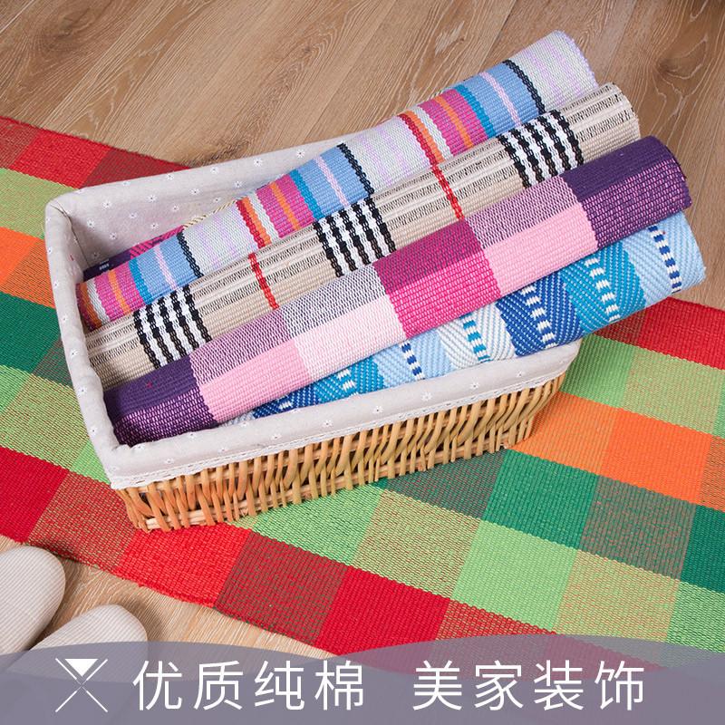 入户门口手工编织地垫 厨房长条地毯 浴室吸水脚垫门垫卧室床边毯